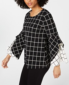 Alfani Printed Double-Ruffle Top, Created for Macy's