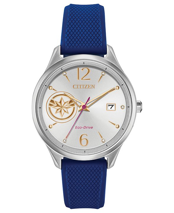 Citizen Eco-Drive Unisex Captain Marvel Blue Strap Watch 37mm