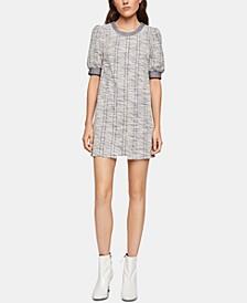 Puff-Shoulder Boucle Shift Dress