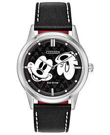 Eco-Drive Unisex Mickey Mouse Black Strap Watch 40mm