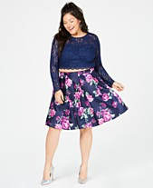 d1befde3f6ff Sequin Hearts Trendy Plus Size 2-Pc. Lace & Floral-Print Dress,