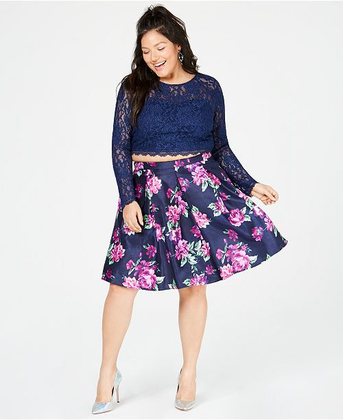 Sequin Hearts Trendy Plus Size 2-Pc. Lace & Floral-Print Dress, Created for Macy's