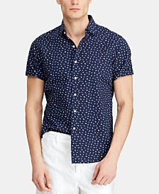 Polo Ralph Lauren Men's Big & Tall Classic-Fit Seersucker Flag-Print Shirt