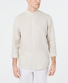 Men's Banded Collar Linen Shirt, Created for Macy's