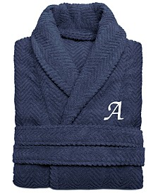 Linum Home 100% Turkish Cotton Personalized Unisex Herringbone Bath Robe - Midnight Blue