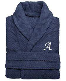 Linum Home 100% Turkish Cotton Personalized Unisex Herringbone Bath Robe - Midnight Blue