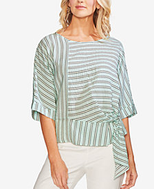 Vince Camuto Striped Side-Tie Blouse
