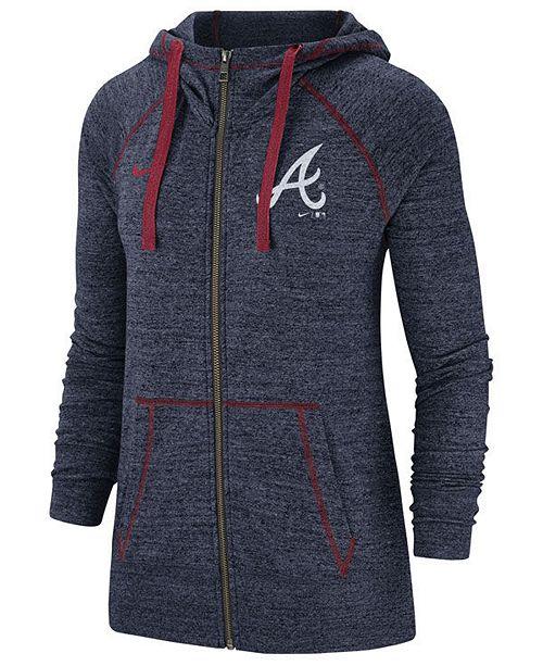 18309b5b564 ... Nike Women's Atlanta Braves Gym Vintage Full-Zip Hooded Sweatshirt ...