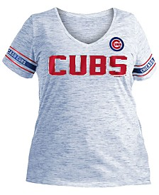 5th & Ocean Women's Plus Chicago Cubs Space Dye Sleeve T-Shirt