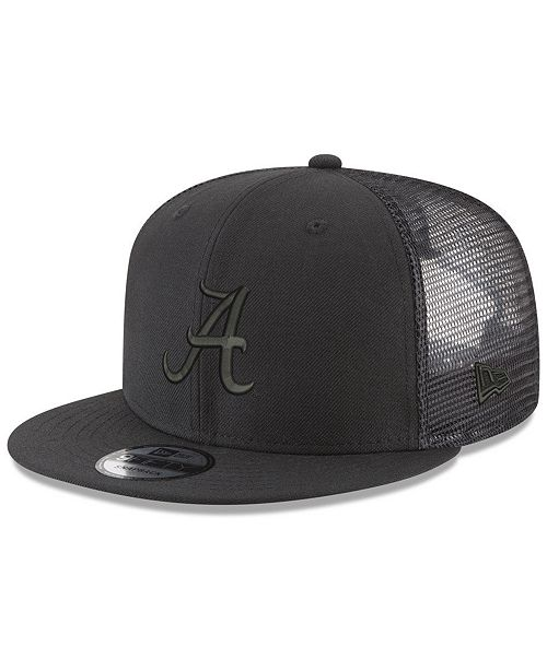 New Era Alabama Crimson Tide Black on Black Meshback Snapback Cap