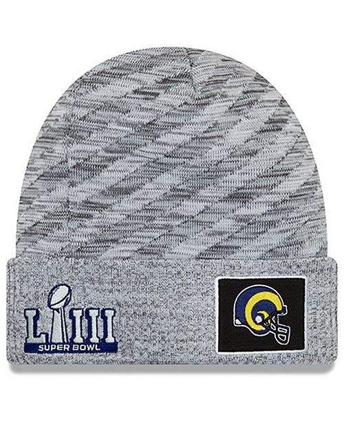 861b73f5a ... New Era Los Angeles Rams Super Bowl LIII Game Sideline Knit Hat ...