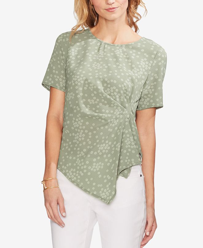 Vince Camuto Printed Draped-Hem Top