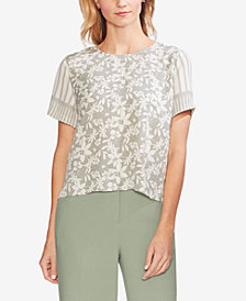 Vince Camuto Mixed-Print Top