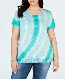 Style & Co Plus Size Printed Ruffle-Hem Top, Created for Macy's