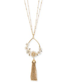 "lonna & lilly Gold-Tone Flower Tassel 36"" Long Pendant Necklace"