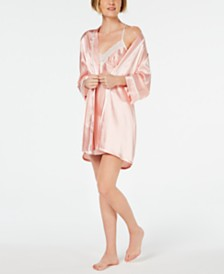Linea Donatella 'Mom' Lace Trim Chemise Nightgown and Embroidered Wrap Robe Set