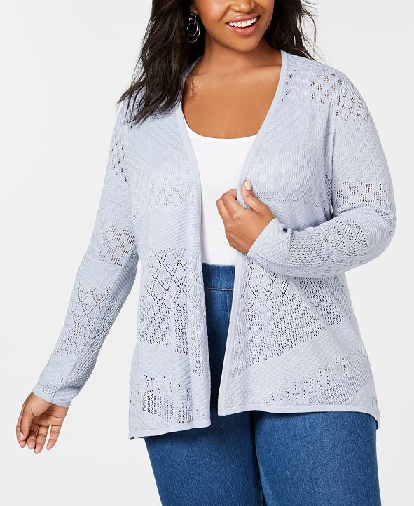 Belldini Plus Size Pointelle Open-Front Cardigan