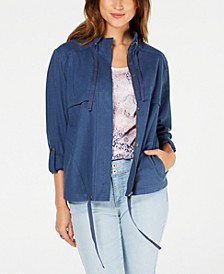 Zip-Up Roll-Tab-Sleeve Jacket, Created for Macy's