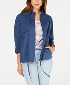 Style & Co Zip-Up Roll-Tab-Sleeve Jacket, Created for Macy's
