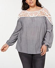 Plus Size Lace-Yoke Striped Blouse