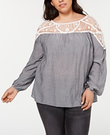 1.STATE Plus Size Lace-Yoke Striped Blouse