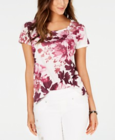 Style & Co Floral-Print Scoop-Neck Top, Created for Macy's
