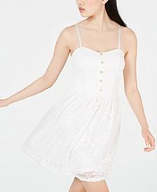 Juniors' Button-Front Lace Fit & Flare Dress