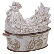 Certified International Toile Rooster 3-D Rooster Covered Bowl