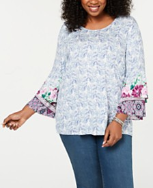 Style & Co Plus Size Printed Tier-Sleeve Top, Created for Macy's