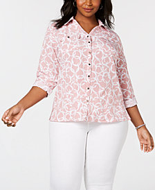 NY Collection Plus Size Plaid Utility Button-Up Shirt
