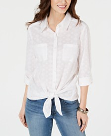 Style & Co Button-Down Tie-Hem Cotton Top, Created for Macy's
