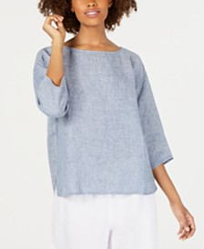 Eileen Fisher Organic Linen Bateau-Neck Top, Regular & Petite