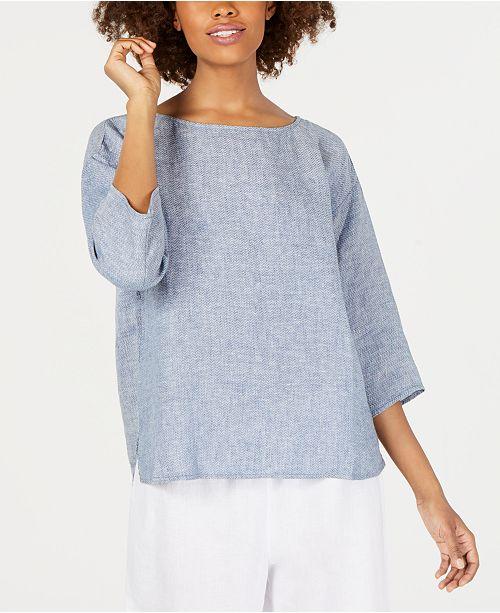 Eileen Fisher Organic Linen Bateau-Neck Top, Regular & Petite