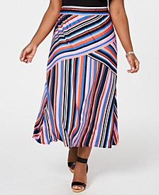 Petite Plus Size Striped Pull-On Maxi Skirt