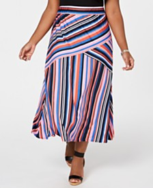 NY Collection Petite Plus Size Striped Pull-On Maxi Skirt