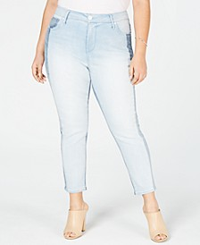 Trendy Plus Size Two-Tone Skinny Jeans