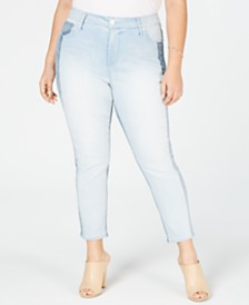 Seven7 Jeans Trendy Plus Size Two-Tone Skinny Jeans