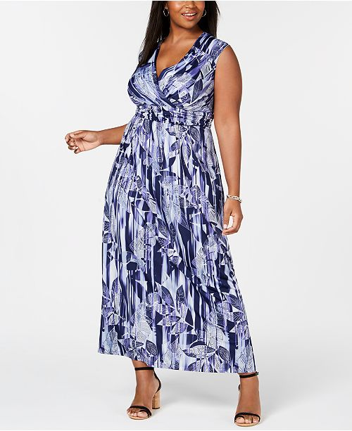 Petite Plus Size Surplice Printed Maxi Dress