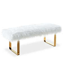 Zinna Faux Fur Bench, Quick Ship