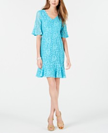 NY Collection Petite Ruffled Lace Dress