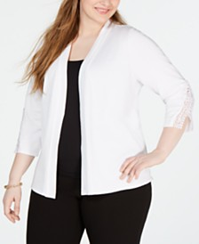 JM Collection Plus Size Crochet-Trim Cardigan, Created for Macys
