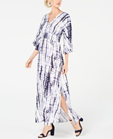 I.N.C. Petite Kimono-Sleeve Tie Dye Maxi Dress, Created for Macy's