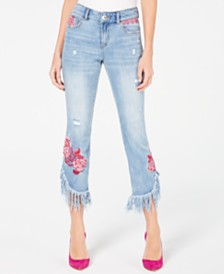 I.N.C. Petite Rose-Embroidered Fringe Skinny Cropped Jeans, Created for Macy's