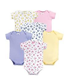 Luvable Friends Unisex Baby Bodysuits, Floral 6-Pack, 0-24 Months
