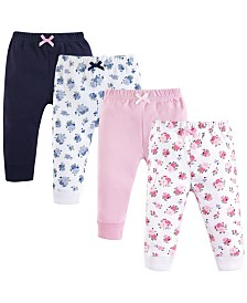Luvable Friends Unisex Baby Pants, Floral Pink 4-Pack, 0-24 Months