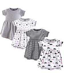 Baby and Toddler Girls Cotton Dress, Stars/Clouds 4 Pack