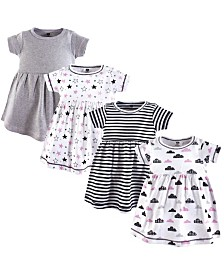 Baby Vision 0 Months- 5T Unisex Hudson Baby Girl Cotton Dress, Stars/Clouds 4 Pack