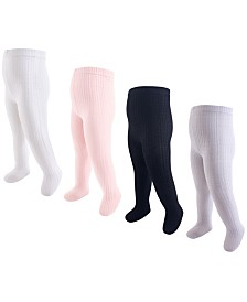 Hudson Baby Girl Cotton Tights, 4-Pack, 0 Months- 4T