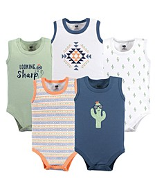 Baby Vision 12-24 Months Unisex Baby Sleeveless Cotton Bodysuits, 5-Pack
