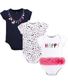 Baby Vision 0-24 Months Unisex Little Treasure Baby Cotton Bodysuits, Short-Sleeve 3-Pack